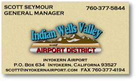 Scott Seymour, General Manager, Indian Wells Valley Airport District, 760-377-5844